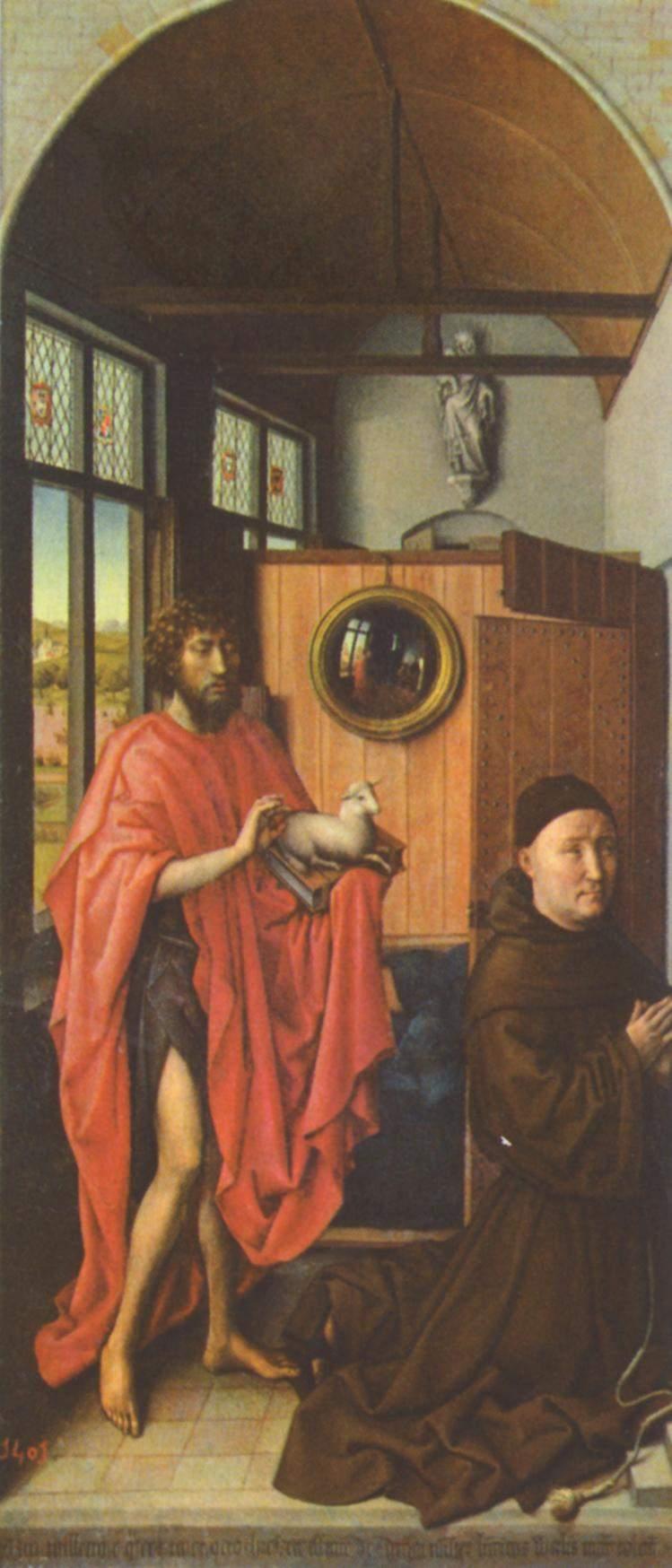 Триптих Верля, левая створка  Иоанн Креститель и донатор Генрих фон Верль, Робер Кампен