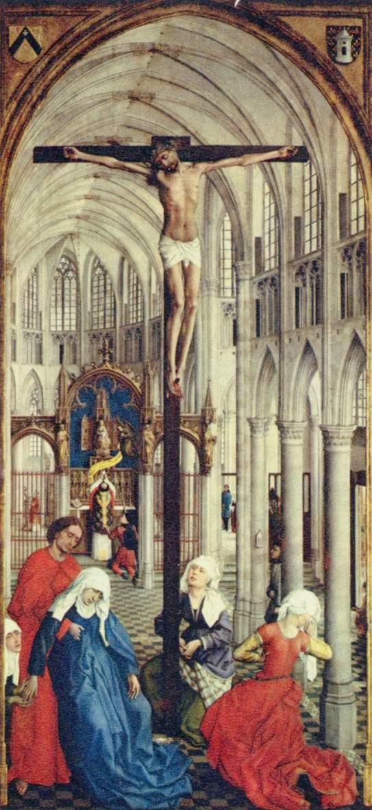 Семь св. Даров, центральная часть. Распятие в церкви, Рогир ван дер Вейден