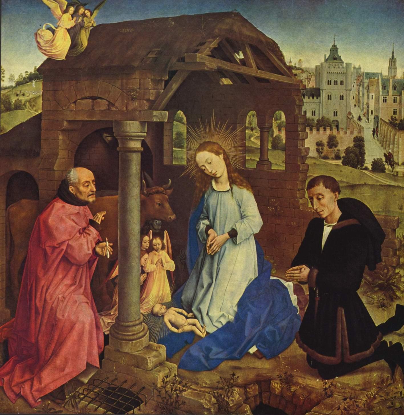 Алтарь Бладлена, центральная часть. Рождество Христово, Рогир ван дер Вейден