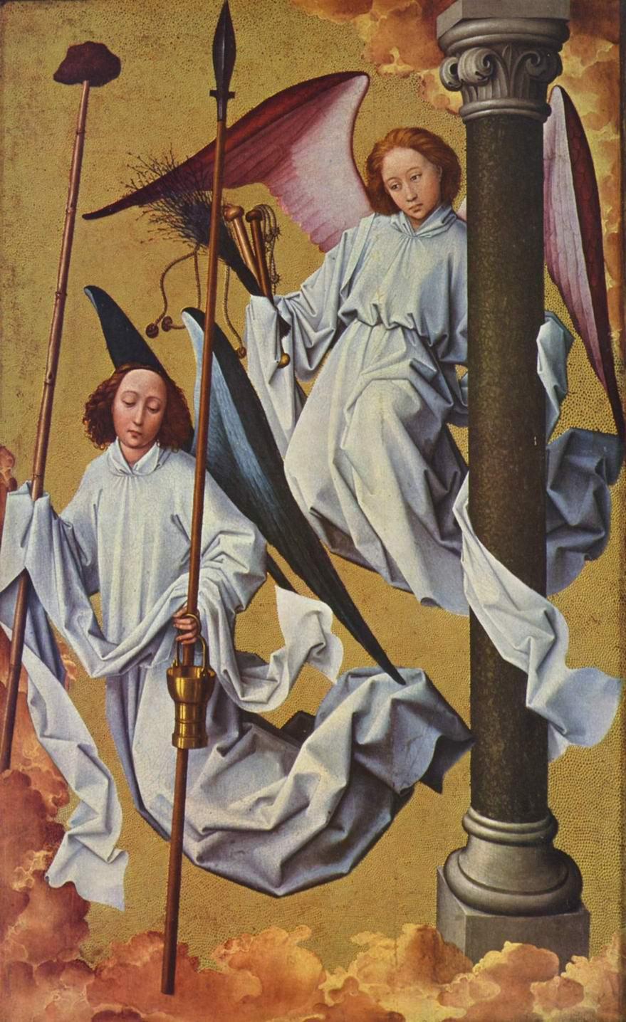 Алтарь Страшного суда Боне, правая верхняя откидная створка. Ангелы, Рогир ван дер Вейден