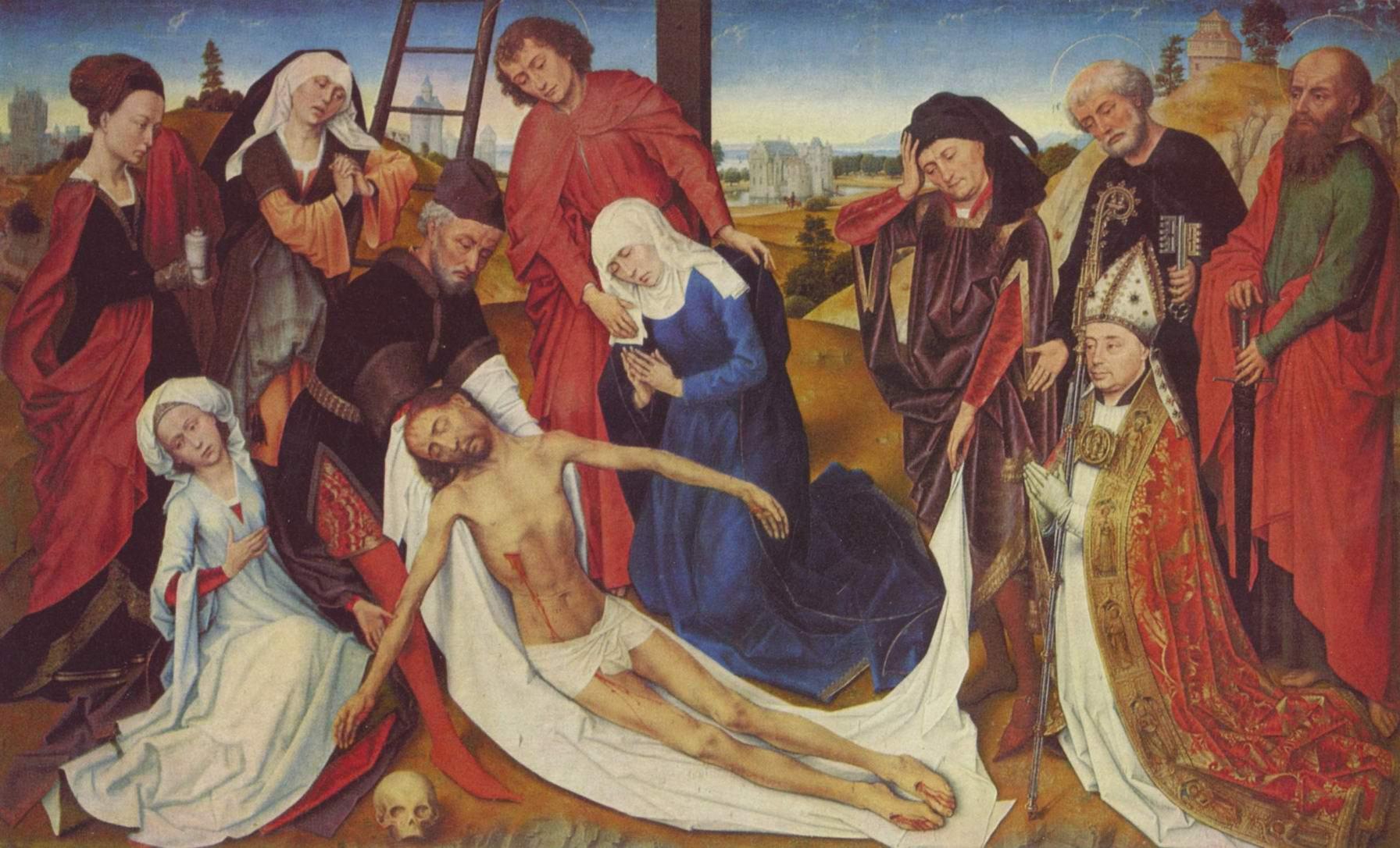 Снятие с креста с донатором Пьером де Раншикуром, епископом Арасским, Рогир ван дер Вейден