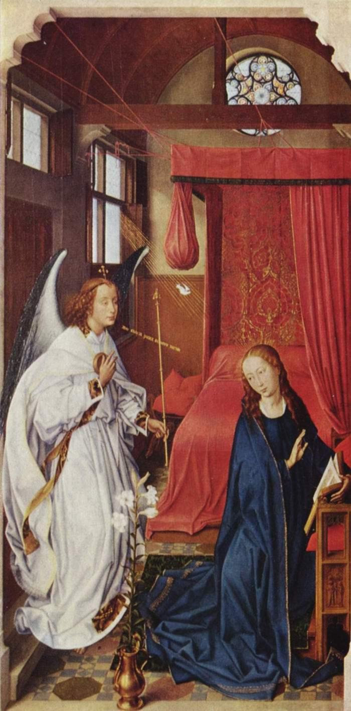 Алтарь трех волхвов, левая створка. Благовещение Марии, Рогир ван дер Вейден