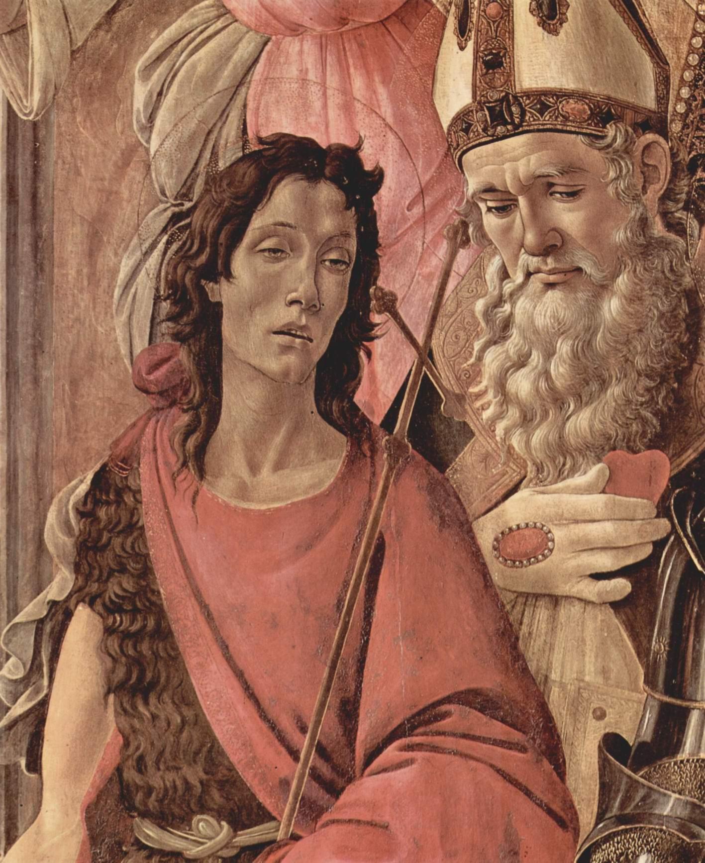 Алтарь, центральная часть  Мадонна на троне, четыре ангела и святые. Деталь  св. Иоанн Креститель и св. Игнатий, Сандро Боттичелли