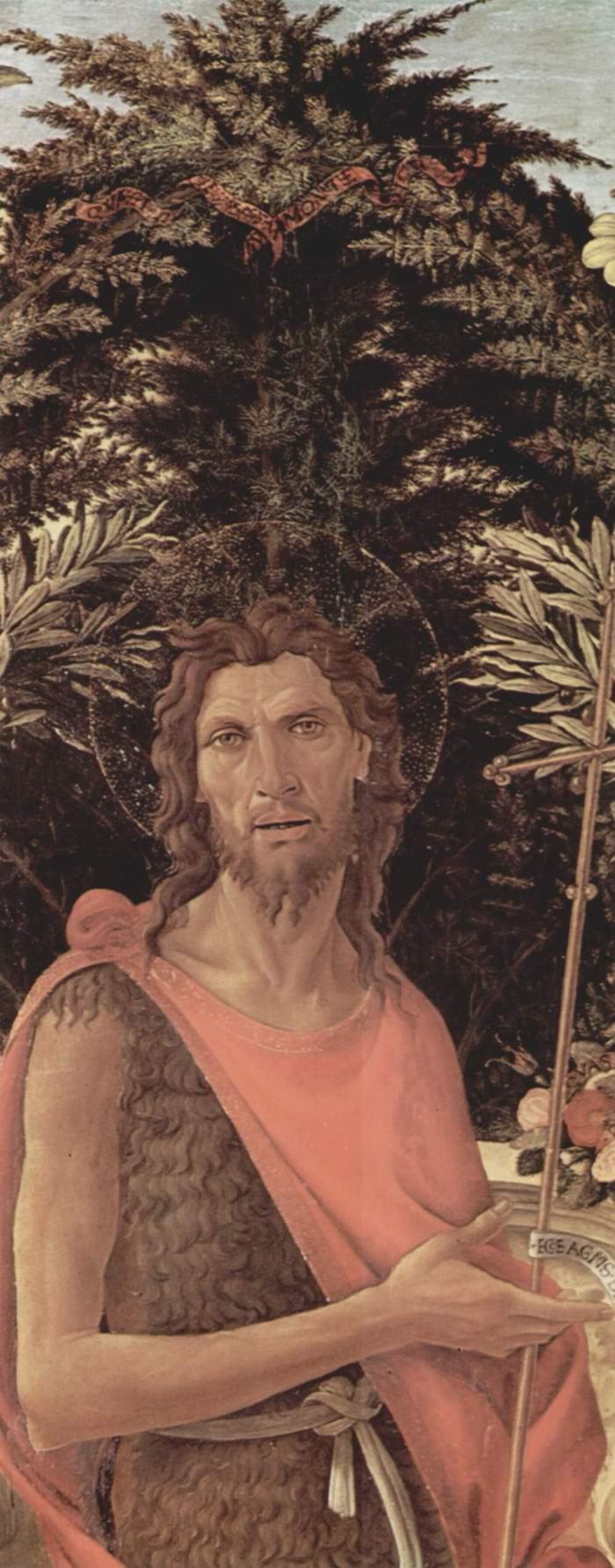 Алтарь Барди, Мадонна на троне, Иоанн Креститель и Иоанн Евангелист. Деталь  Иоанн Креститель, Сандро Боттичелли