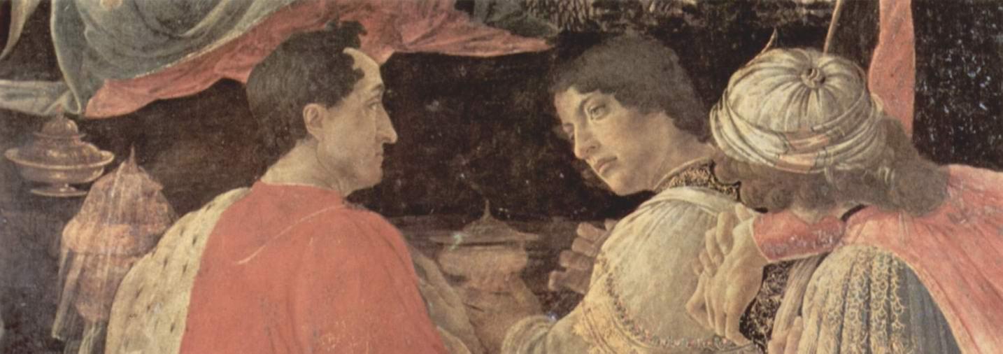 Алтарь Заноби, Поклонение волхвов. Деталь  слева  Пьеро и Джованни ди Медичи, Сандро Боттичелли