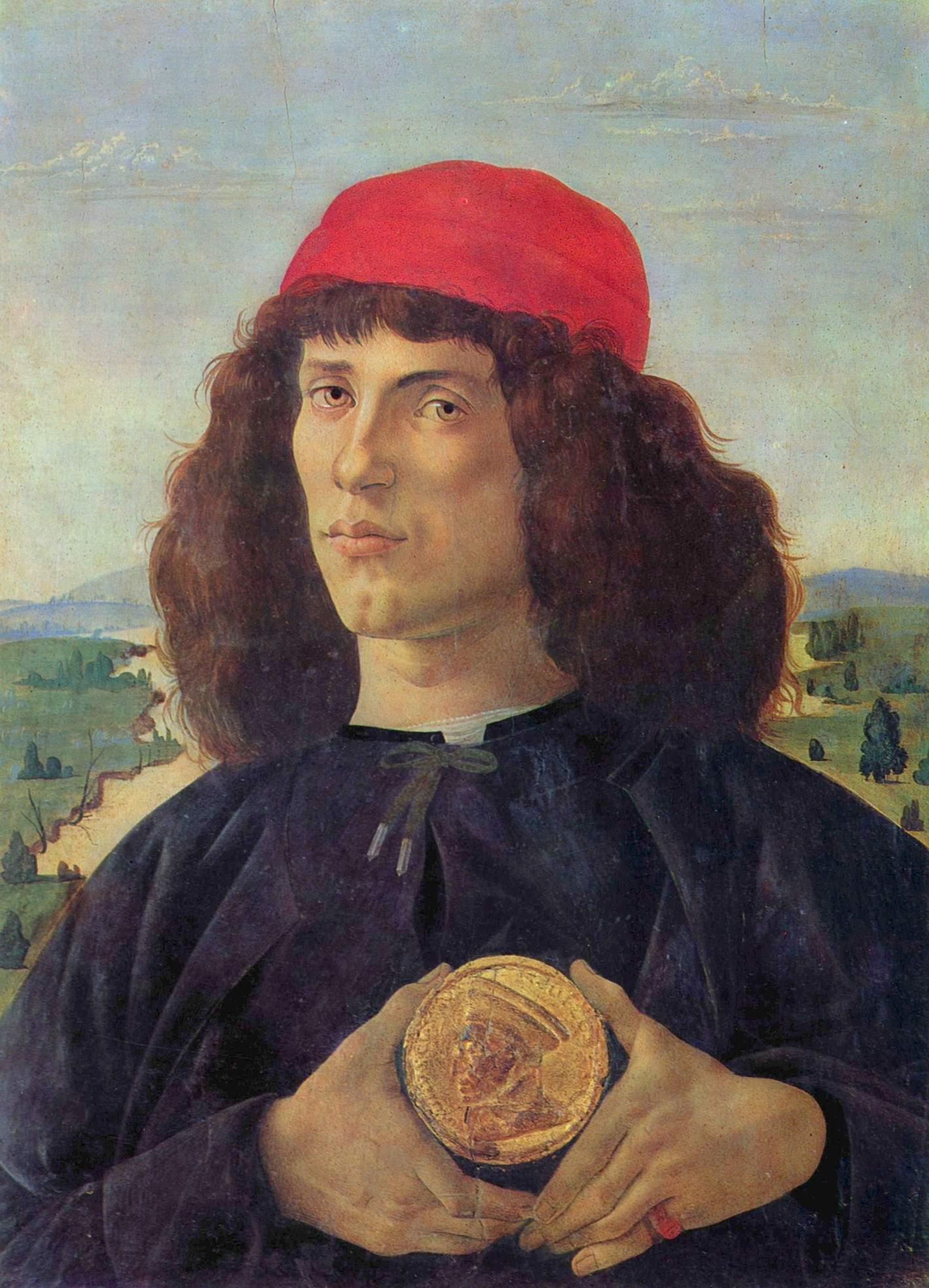 Портрет молодого человека с медалью Козимо Медичи Старшего, Сандро Боттичелли