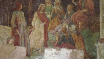 Фрески виллы Лемми под Флоренцией, Лоренцо Торнабуони перед аллегорическими фигурами семи свободных искусств, фрагмент