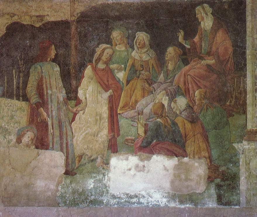 Фрески виллы Лемми под Флоренцией, Лоренцо Торнабуони перед аллегорическими фигурами семи свободных искусств, фрагмент, Сандро Боттичелли