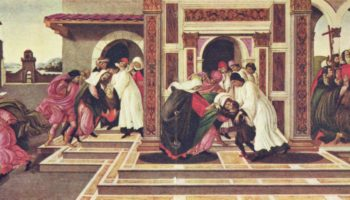 Эпизоды из жизни св. Зиновия Флорентийского, исцеление мальчика, перееханного повозкой и предсказание его собственной смерти