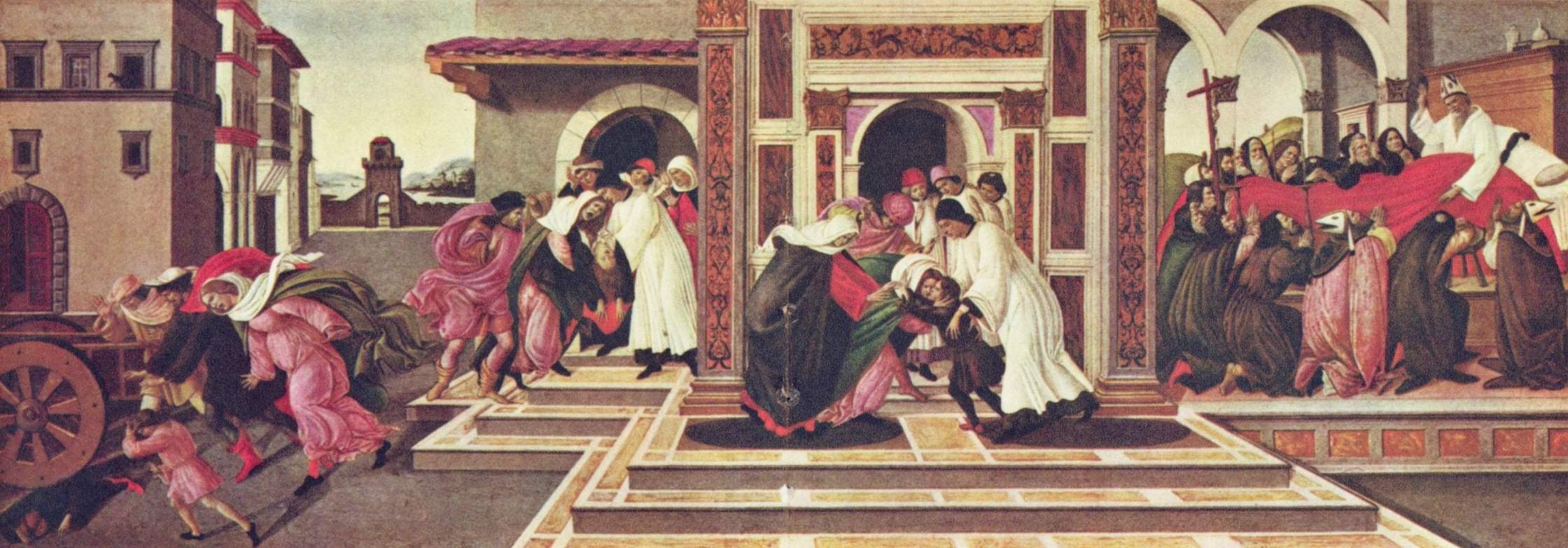 Эпизоды из жизни св. Зиновия Флорентийского, исцеление мальчика, перееханного повозкой и предсказание его собственной смерти, Сандро Боттичелли