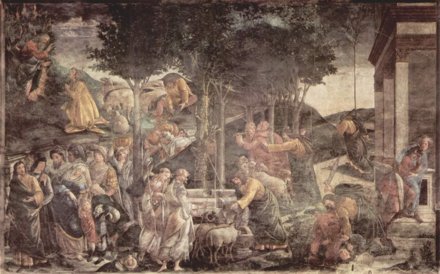 Фрески Сикстинской капеллы в Риме, Юность Моисея, Сандро Боттичелли