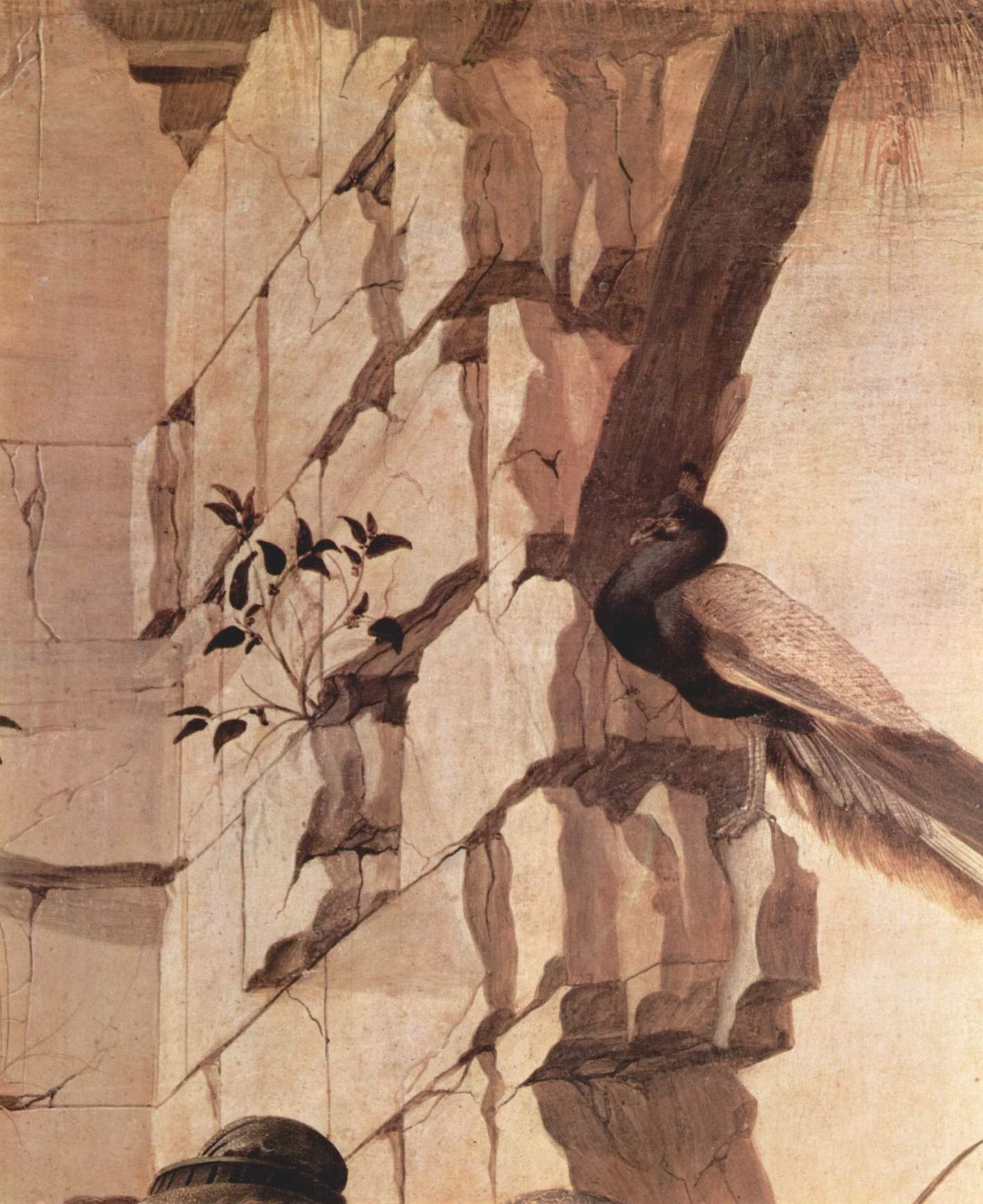 Алтарь Заноби, поклонение волхвов. Деталь  фазан, Сандро Боттичелли