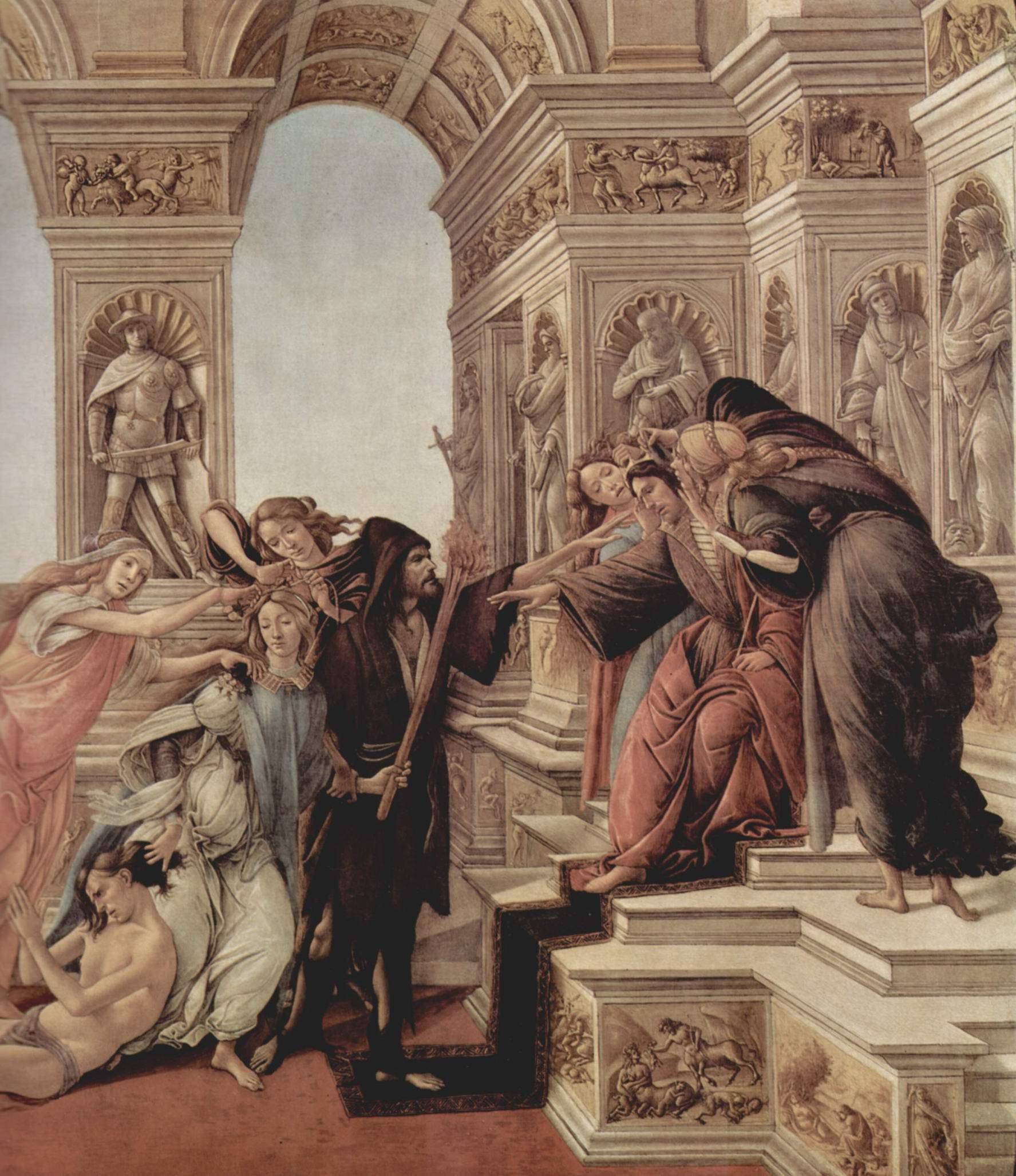 Клевета. Деталь  Аппелес оклеветан подкупленым судьёй, Сандро Боттичелли