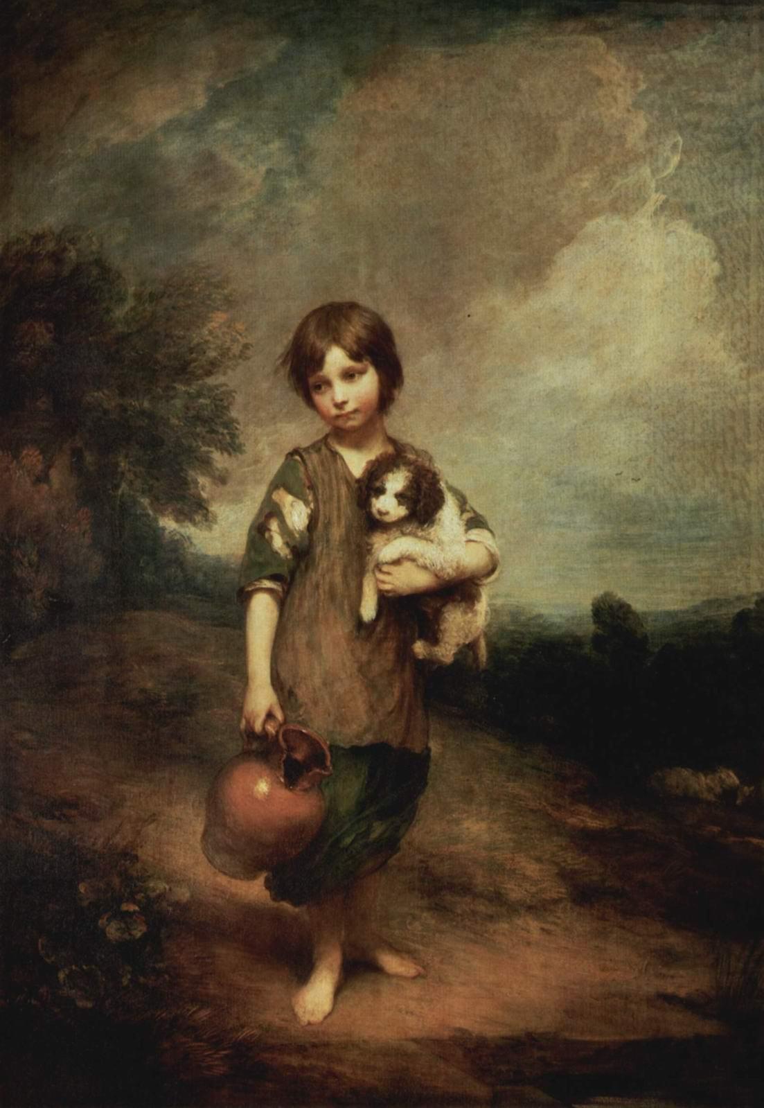 Деревенская девочка с собакой и кувшином, Томас Гейнсборо