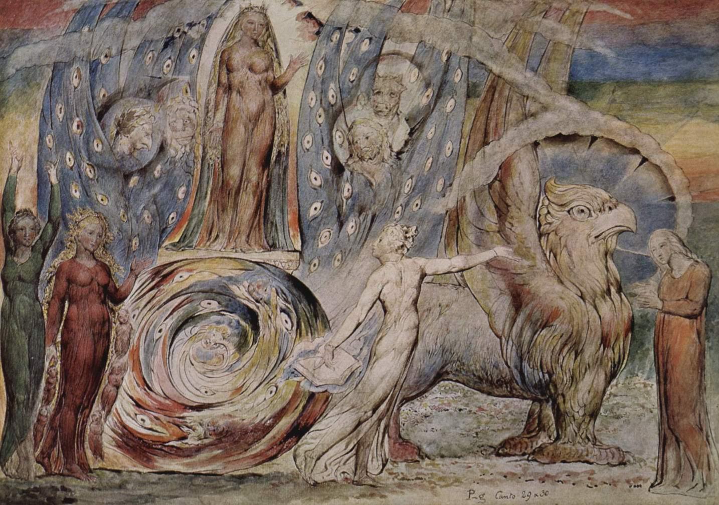 Беатриче беседует с Данте со своей колесницы, Уильям Блейк