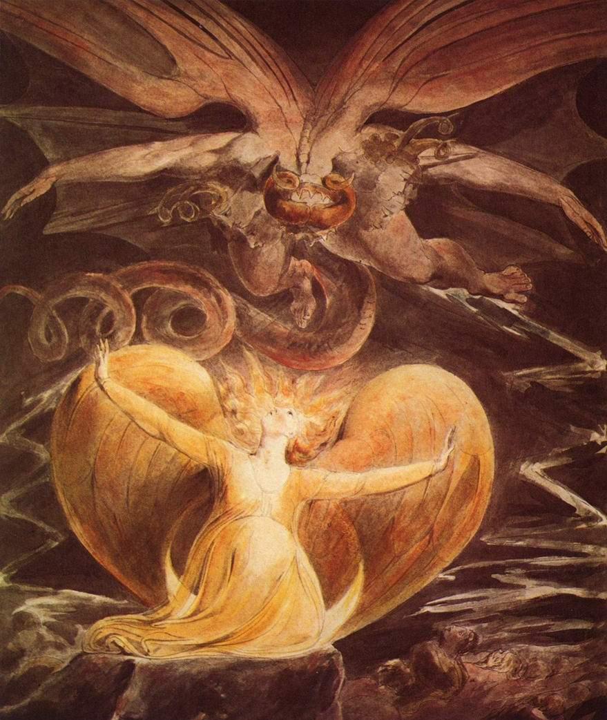 Большой красный дракон и жена, облеченная в солнце, Уильям Блейк