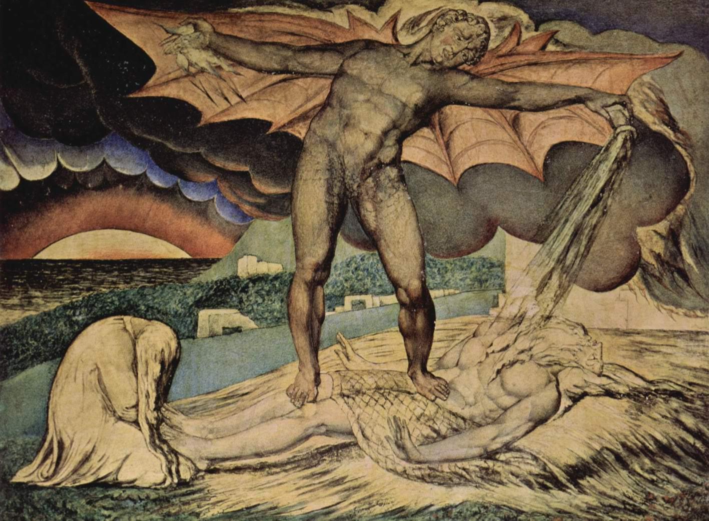 Сатана рассыпает беды над Иовом, Уильям Блейк