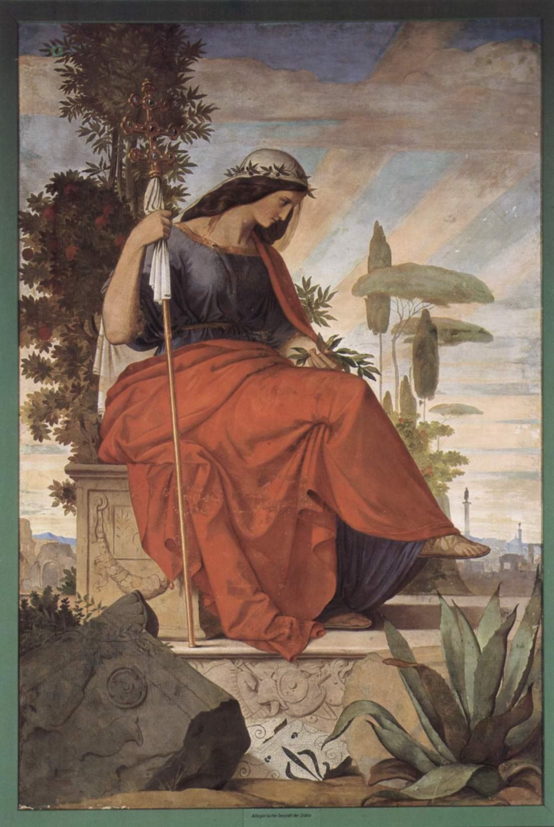 Настенная роспись из старого Штеделевского института, левая часть  Аллегорическая фигура Италии, Филипп Вайт