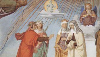 Цикл фресок в Казино Массимо (Рим), Дантевский зал. Эмпирей и восемь небес Рая. Фрагмент. Небо луны. Данте и Беатриче перед Констанцией и Пиккардой
