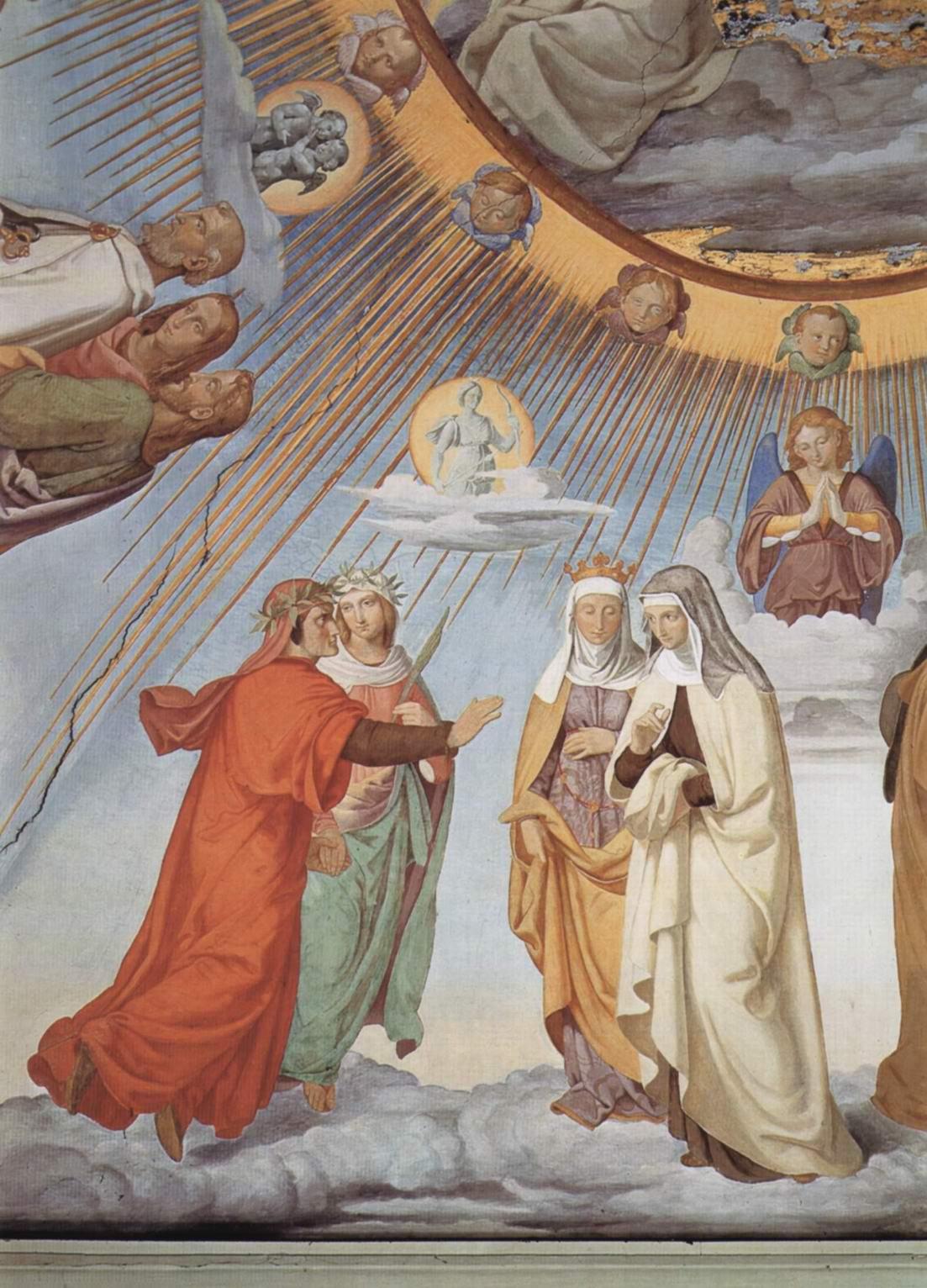 Цикл фресок в Казино Массимо (Рим), Дантевский зал. Эмпирей и восемь небес Рая. Фрагмент. Небо луны. Данте и Беатриче перед Констанцией и Пиккардой, Филипп Вайт