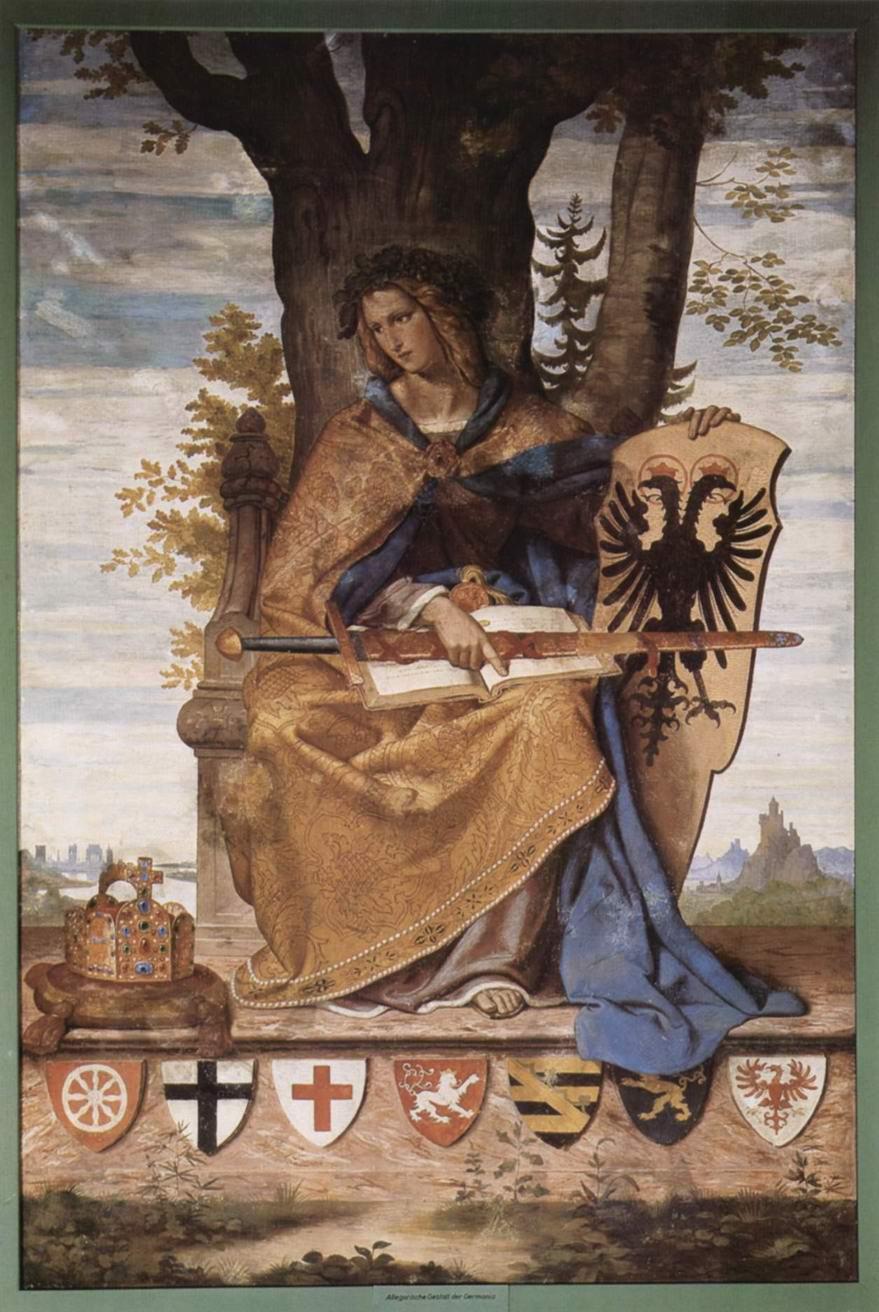Настенная роспись из старого Штеделевского института, правая часть  Аллегорическая фигура Германии, Филипп Вайт