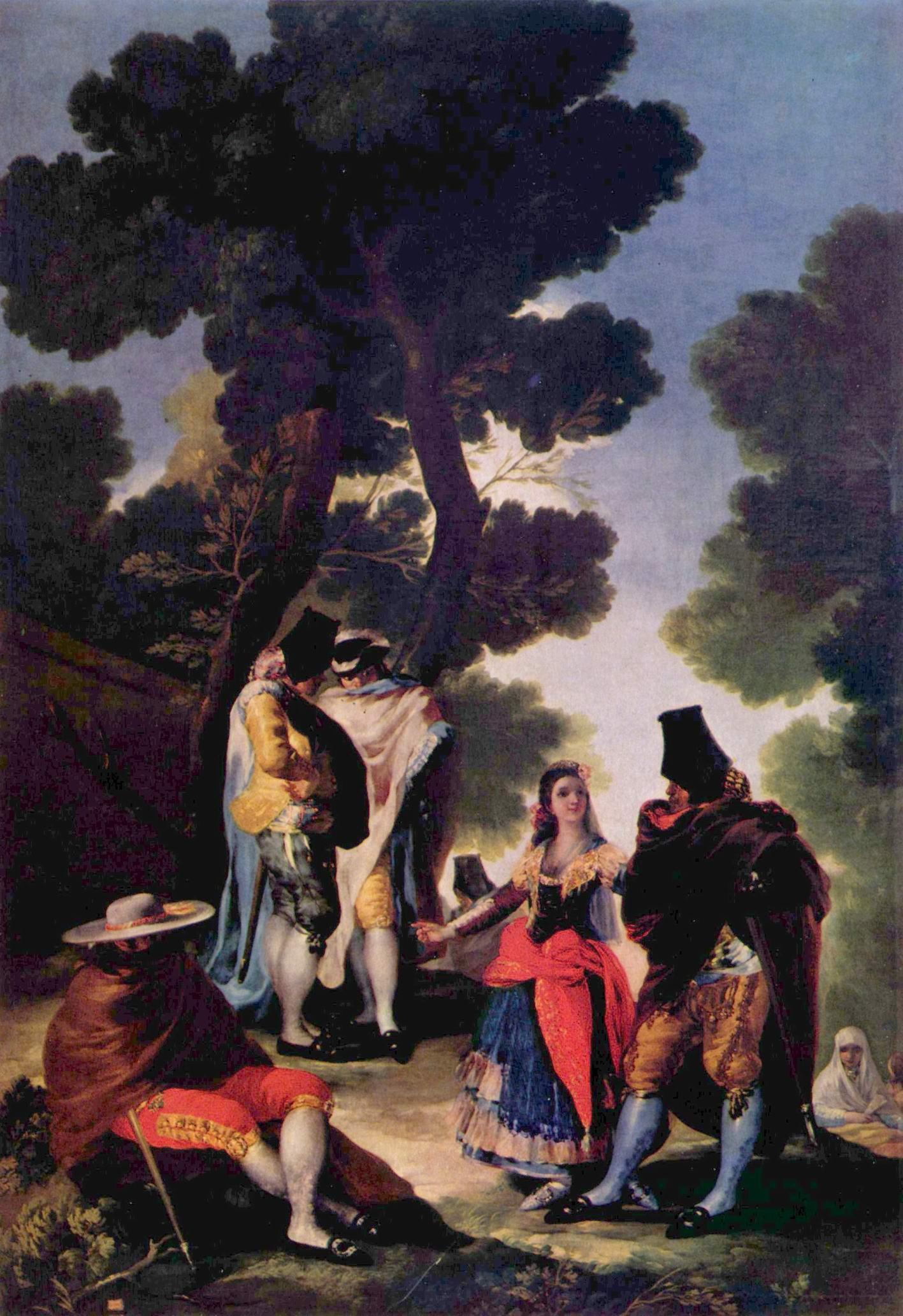 Маха и люди в масках, Франсиско де Гойя-и-Лусьентес