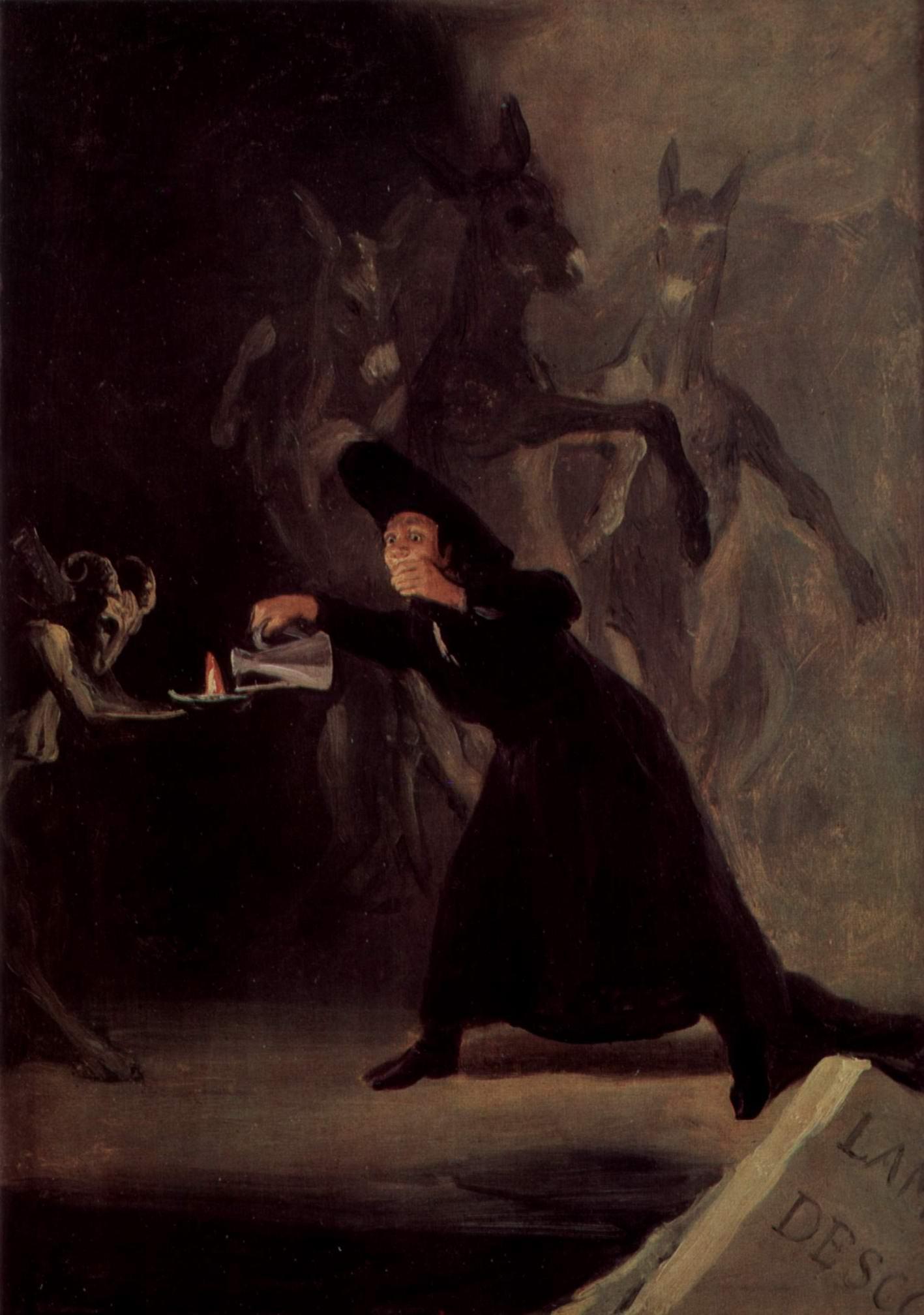 Картины о колдовстве для дворца Аламеда герцога Осунского. Лампа дьявола, Франсиско де Гойя-и-Лусьентес