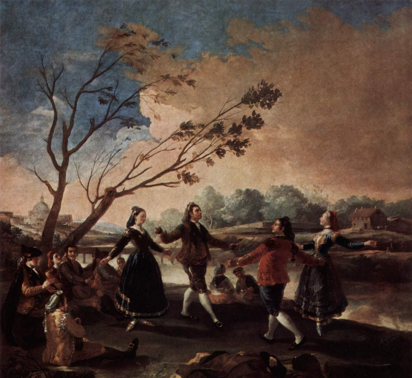 Эскизы гобеленов для королевских дворцов Прадо и Эскориал. Махи, танцующие с горожанами, Франсиско де Гойя-и-Лусьентес