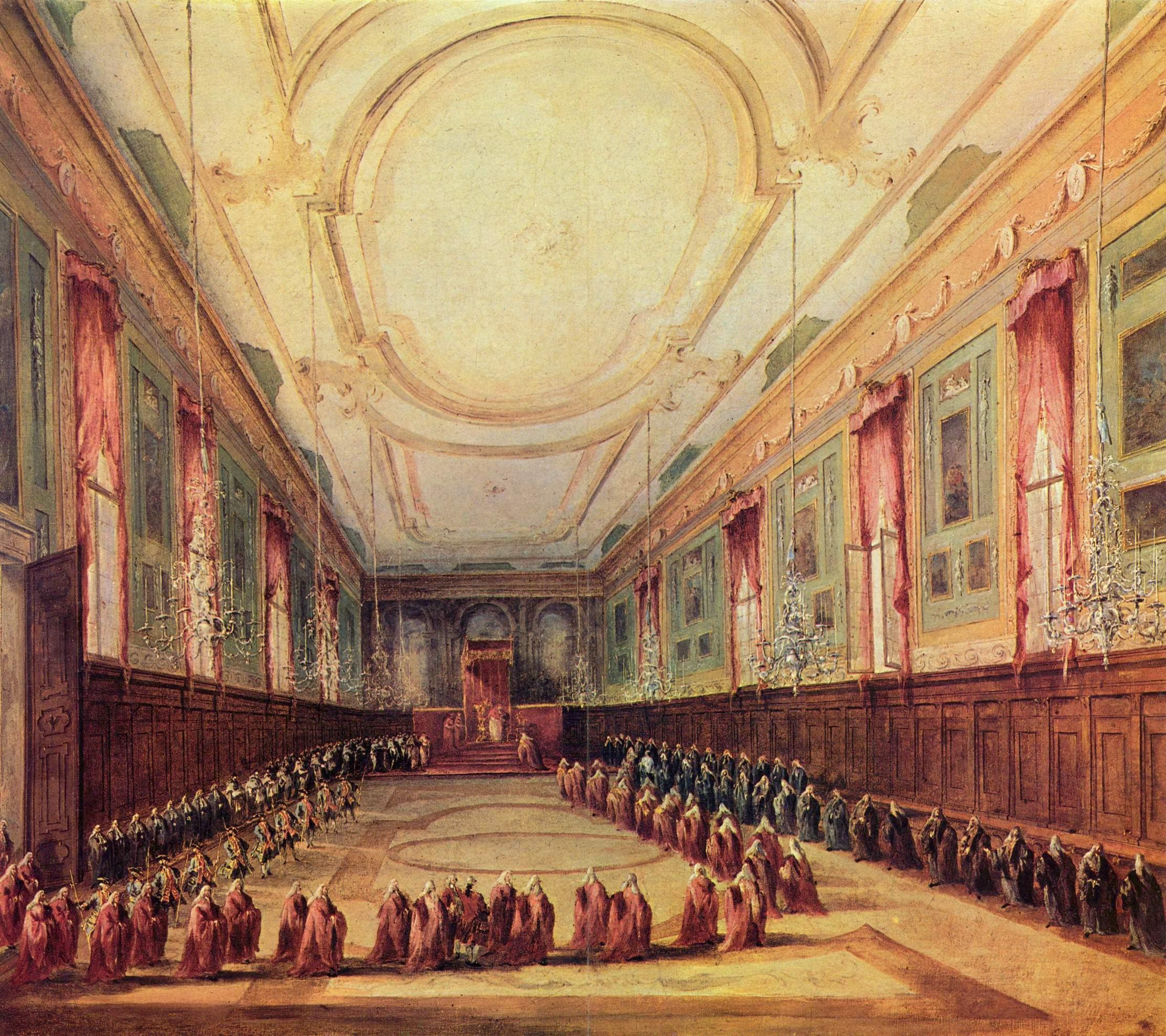 Дож на аудиенции у папы Пия VI, Франческо Гварди