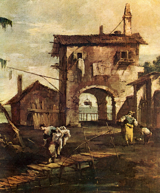 Каприччо. Руины церкви, сельский дом и фигуры на берегу протока лагуны. Фрагмент, Франческо Гварди