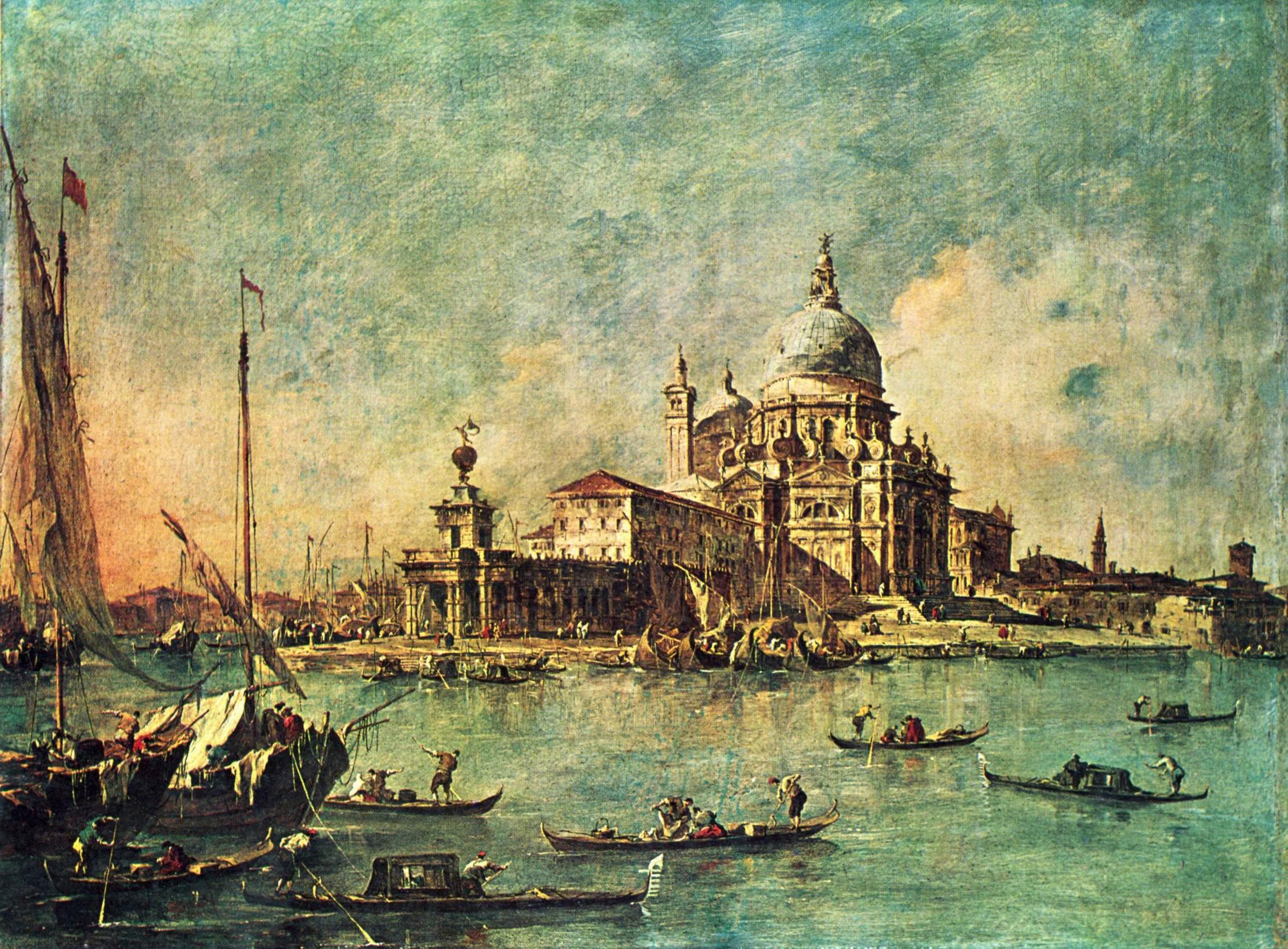 Вид с Пунта делла Догана на церковь делла Салюте, Франческо Гварди