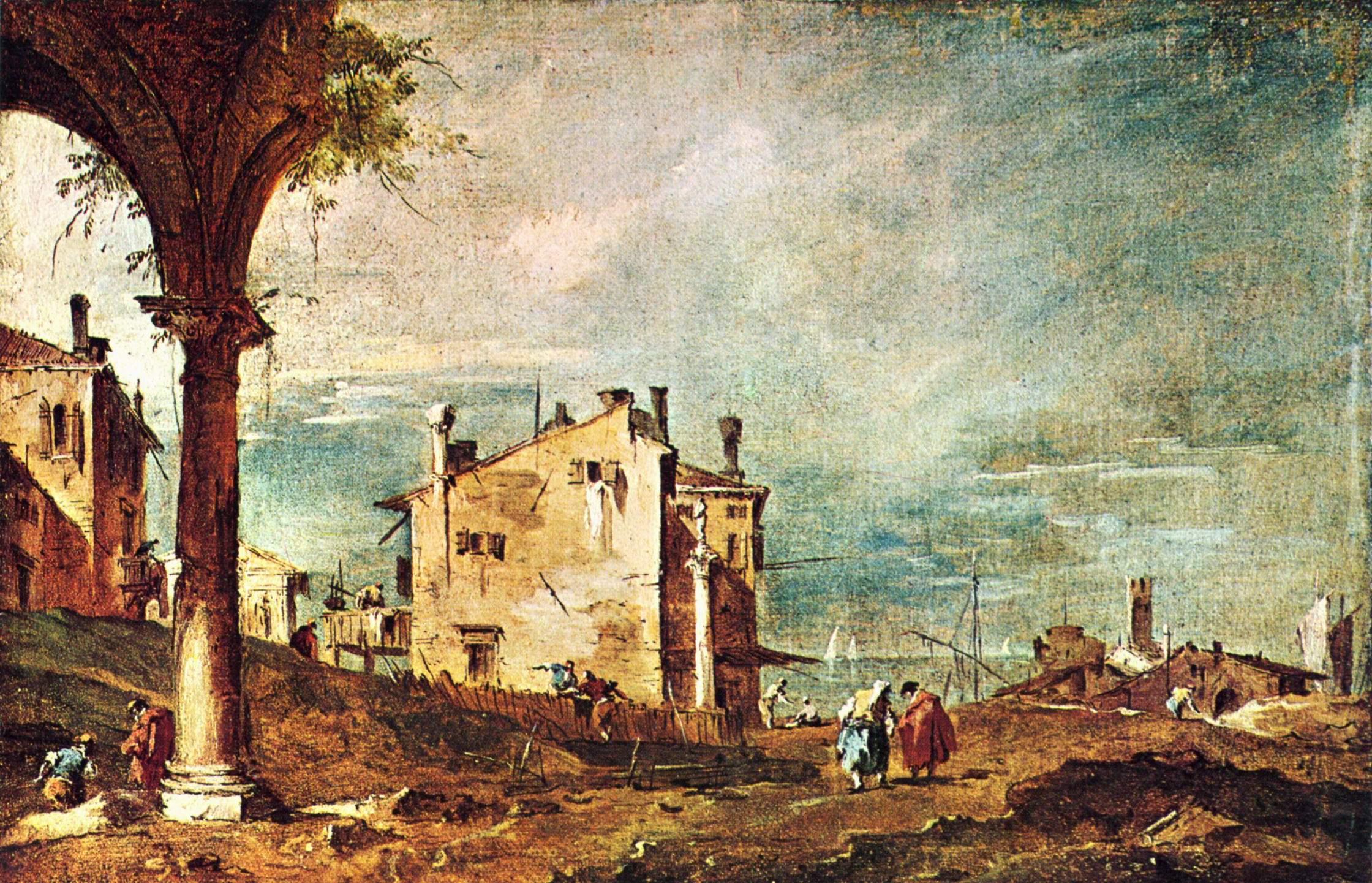 Каприччо. Развалины аркады и сельские дома на лагуне, Франческо Гварди