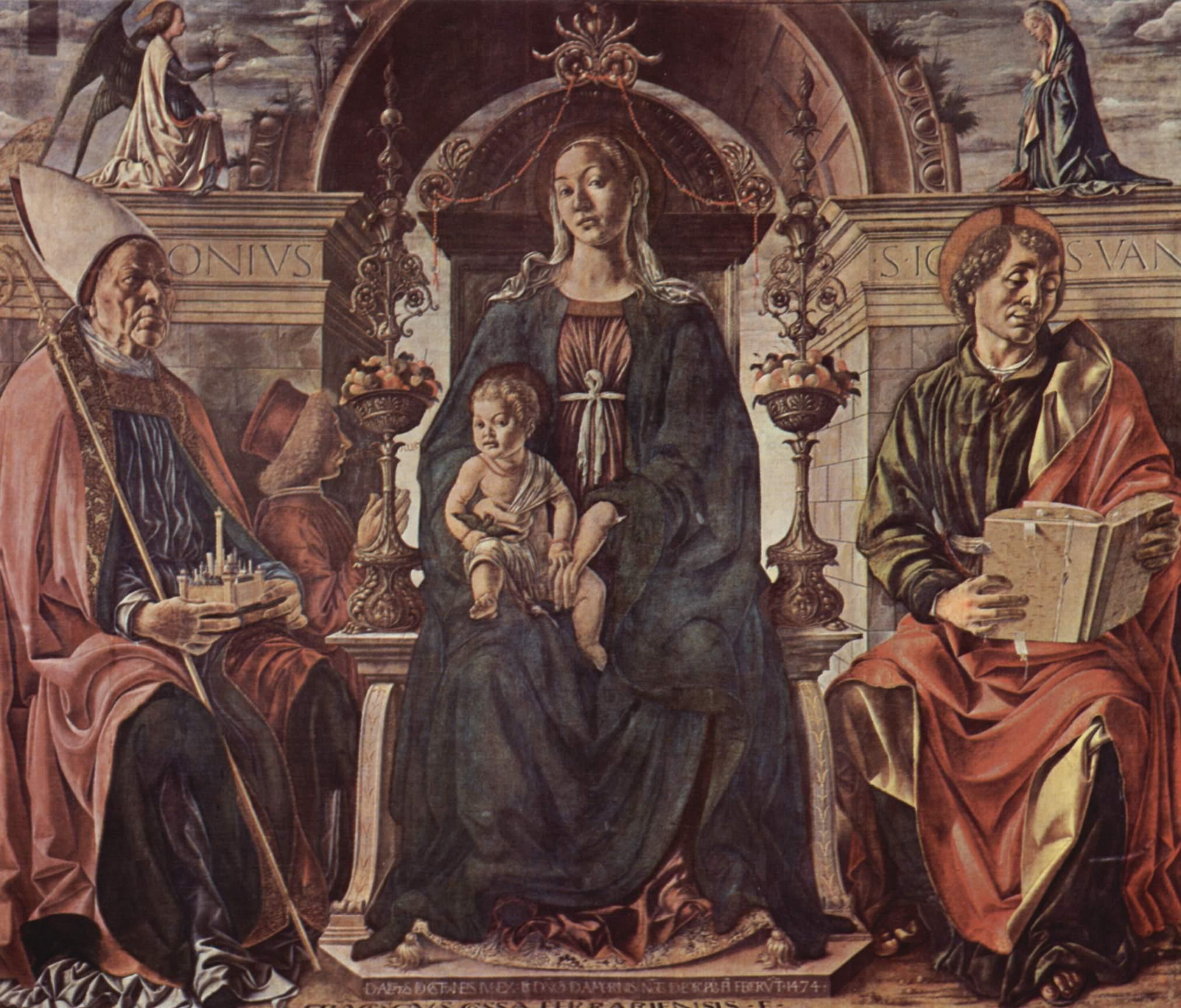 Мадонна на престоле, св. Петроний и Иоанн Евангелист, Франческо дель Косса