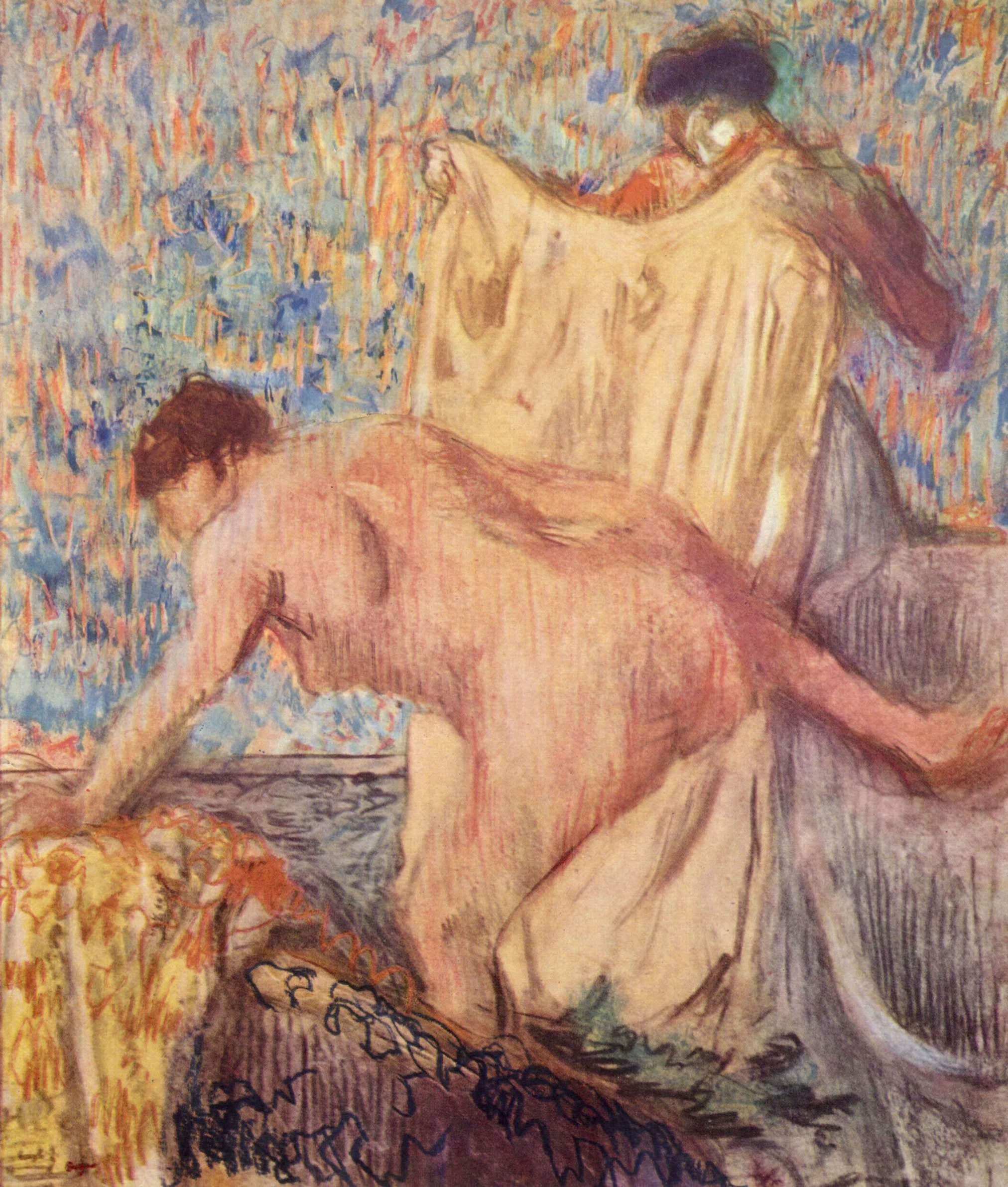 Женщина, выходящая из ванны после мытья, Эдгар-Жермен - Илер Дега