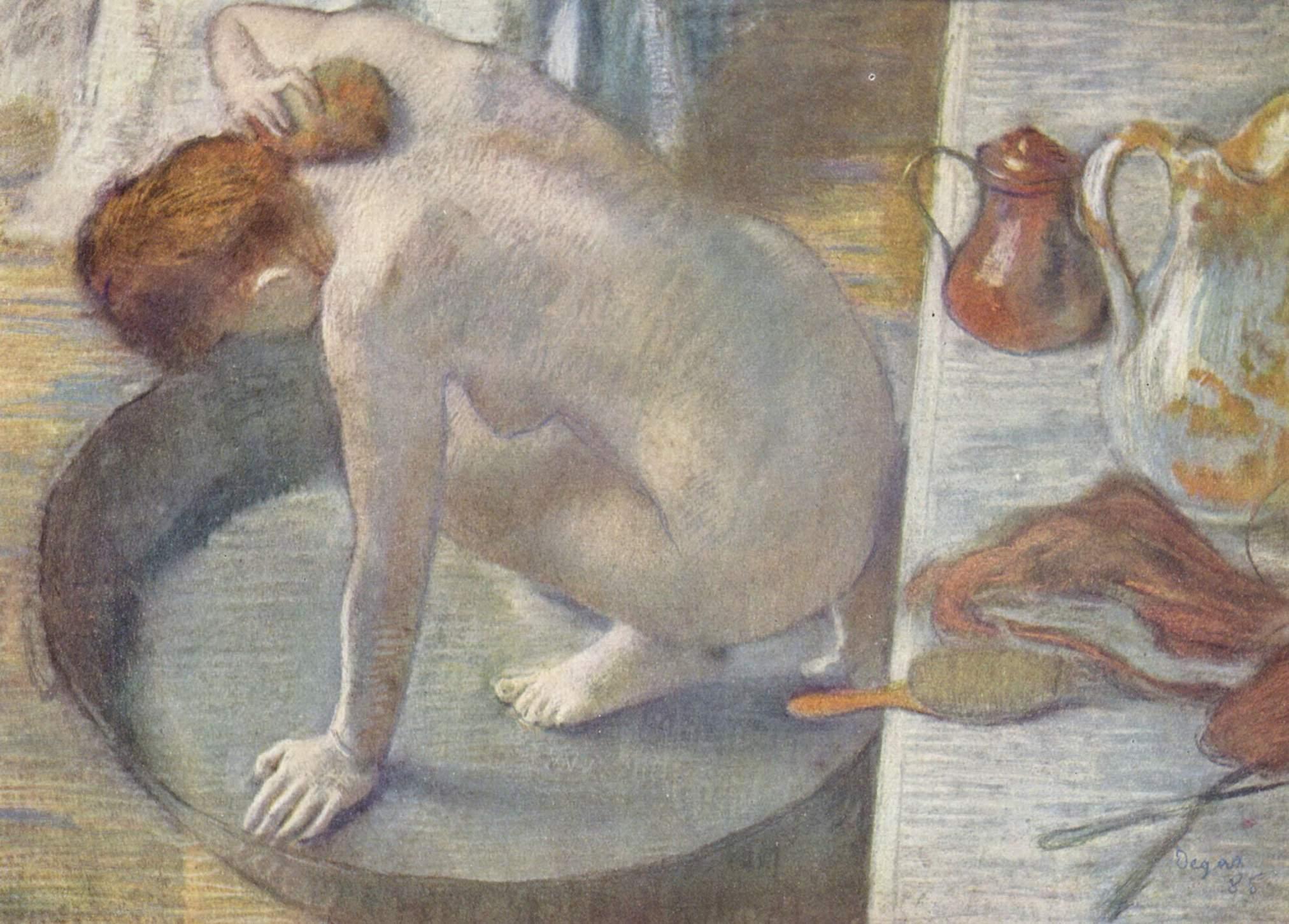 Женщина в чане, моющая спину, Эдгар-Жермен - Илер Дега