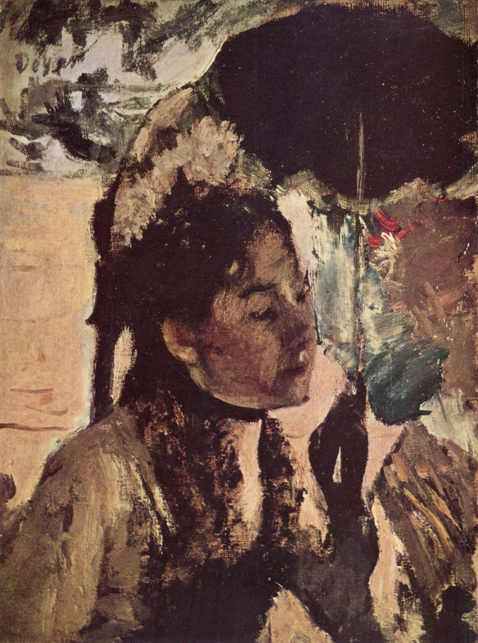 В Тюильри  женщина с зонтиком, Эдгар-Жермен - Илер Дега