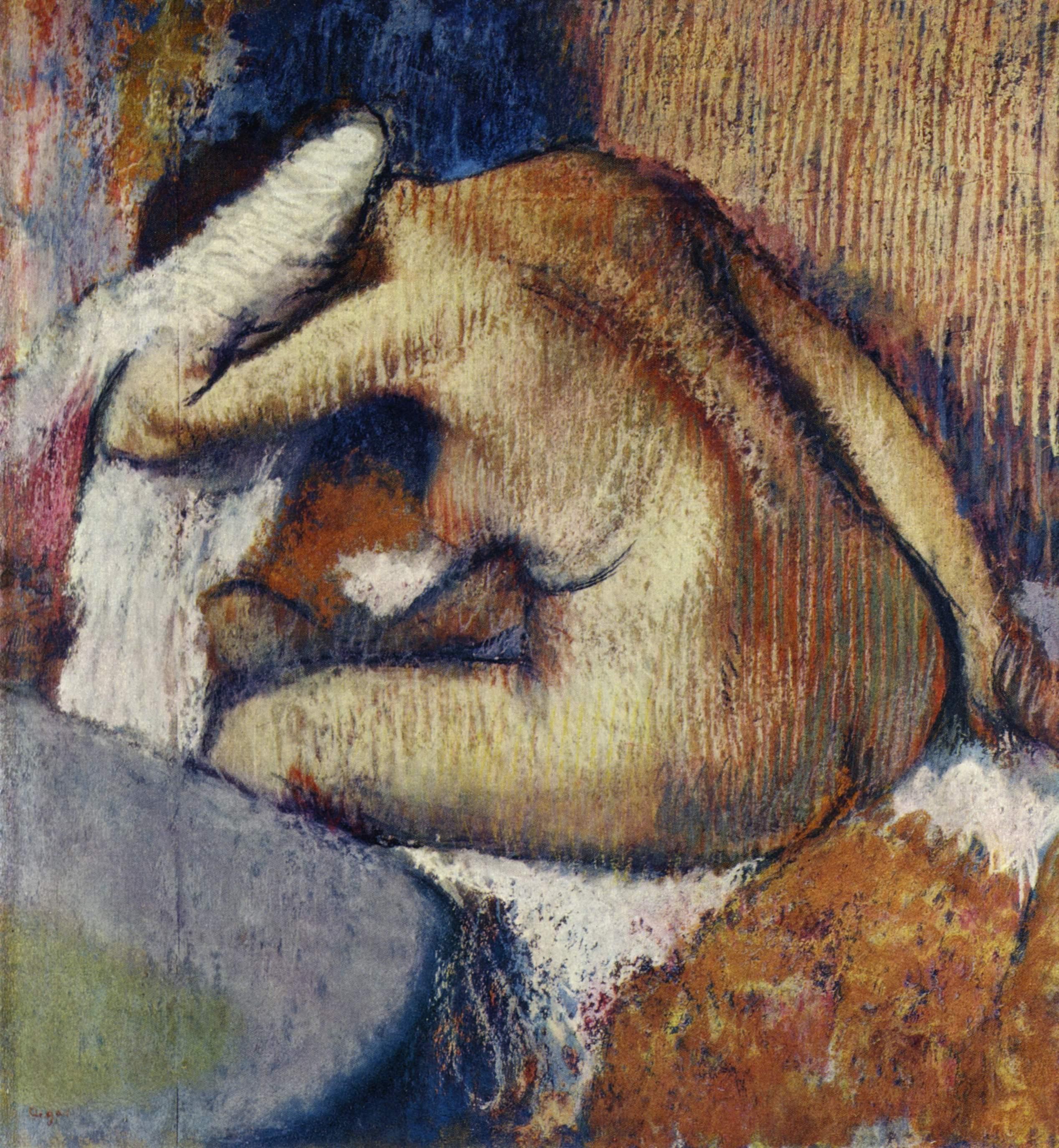 Женщина, вытирающаяся после мытья, Эдгар-Жермен - Илер Дега