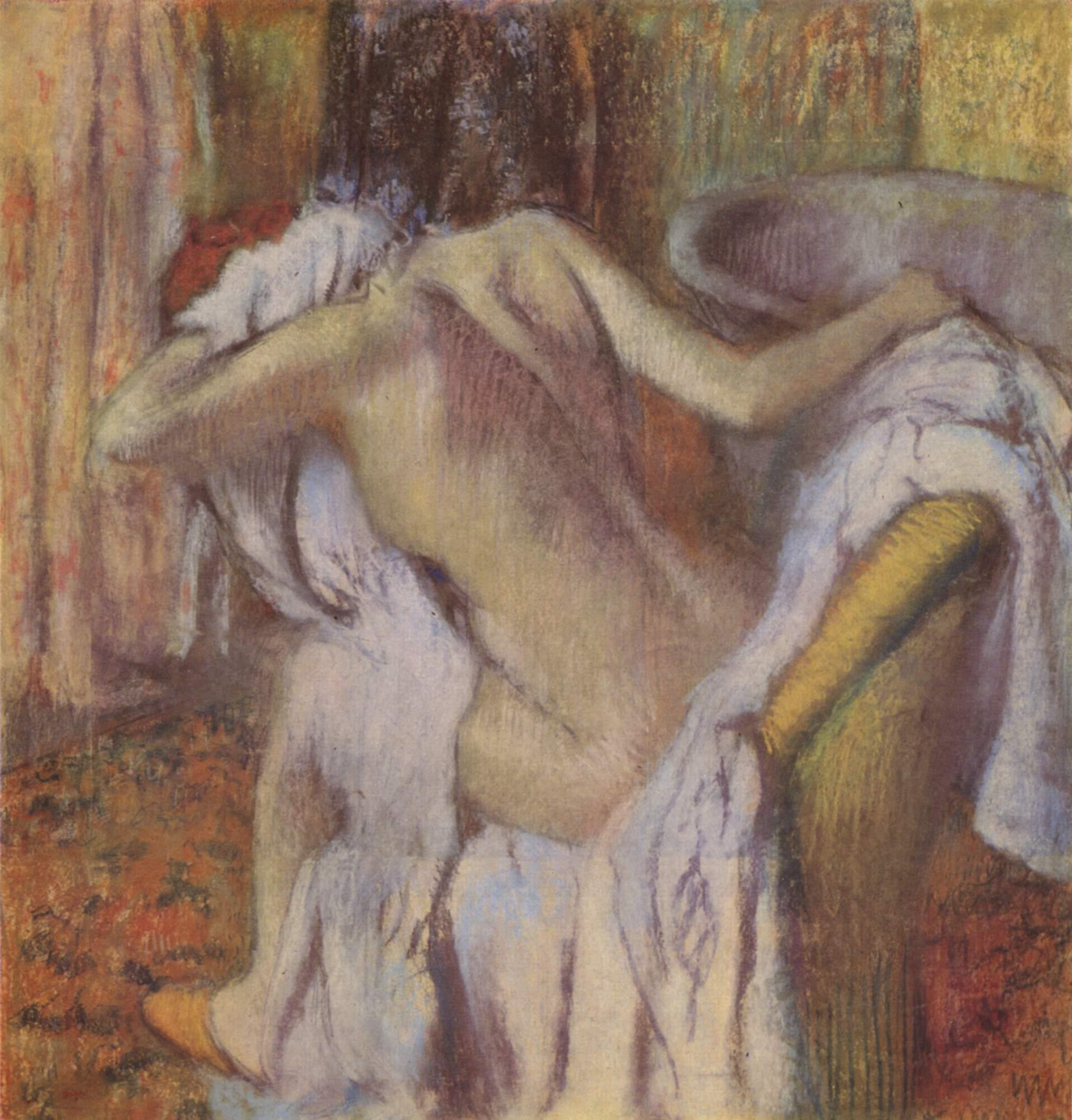 Женщина, вытирающаяся после купания, Эдгар-Жермен - Илер Дега