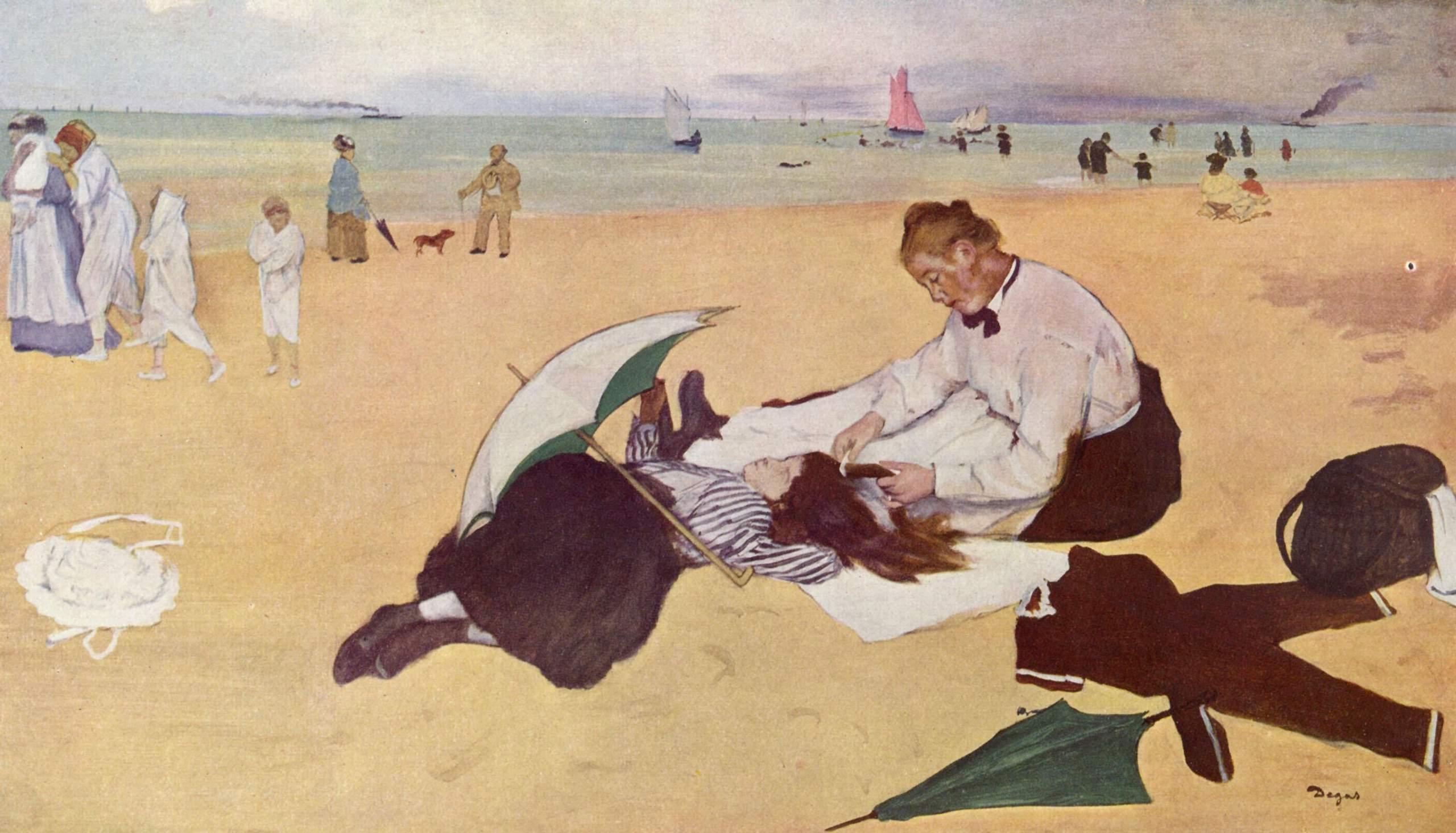 Маленькая девочка на пляже с бонной, расчёсывающей ей волосы, Эдгар-Жермен - Илер Дега