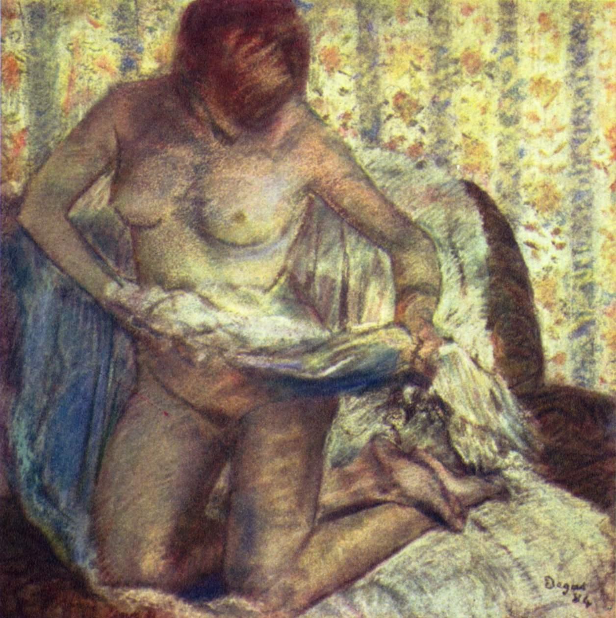 Стоящая на коленях женщина, Эдгар-Жермен - Илер Дега