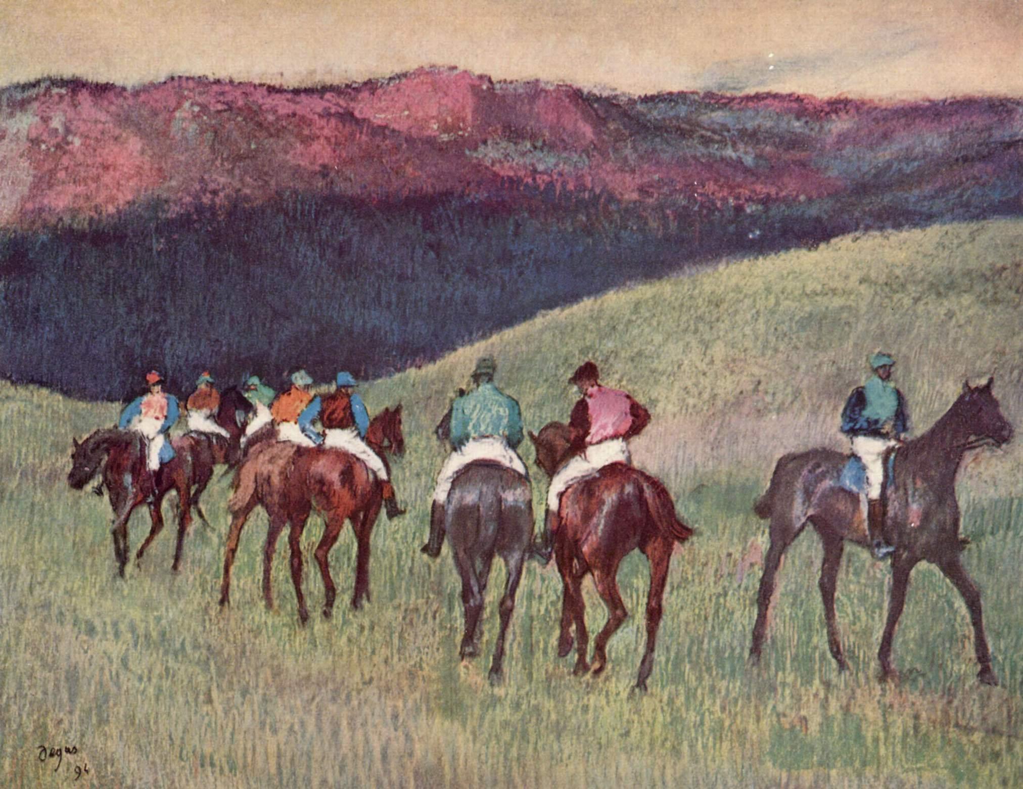 Проездка скаковых лошадей, Эдгар-Жермен - Илер Дега