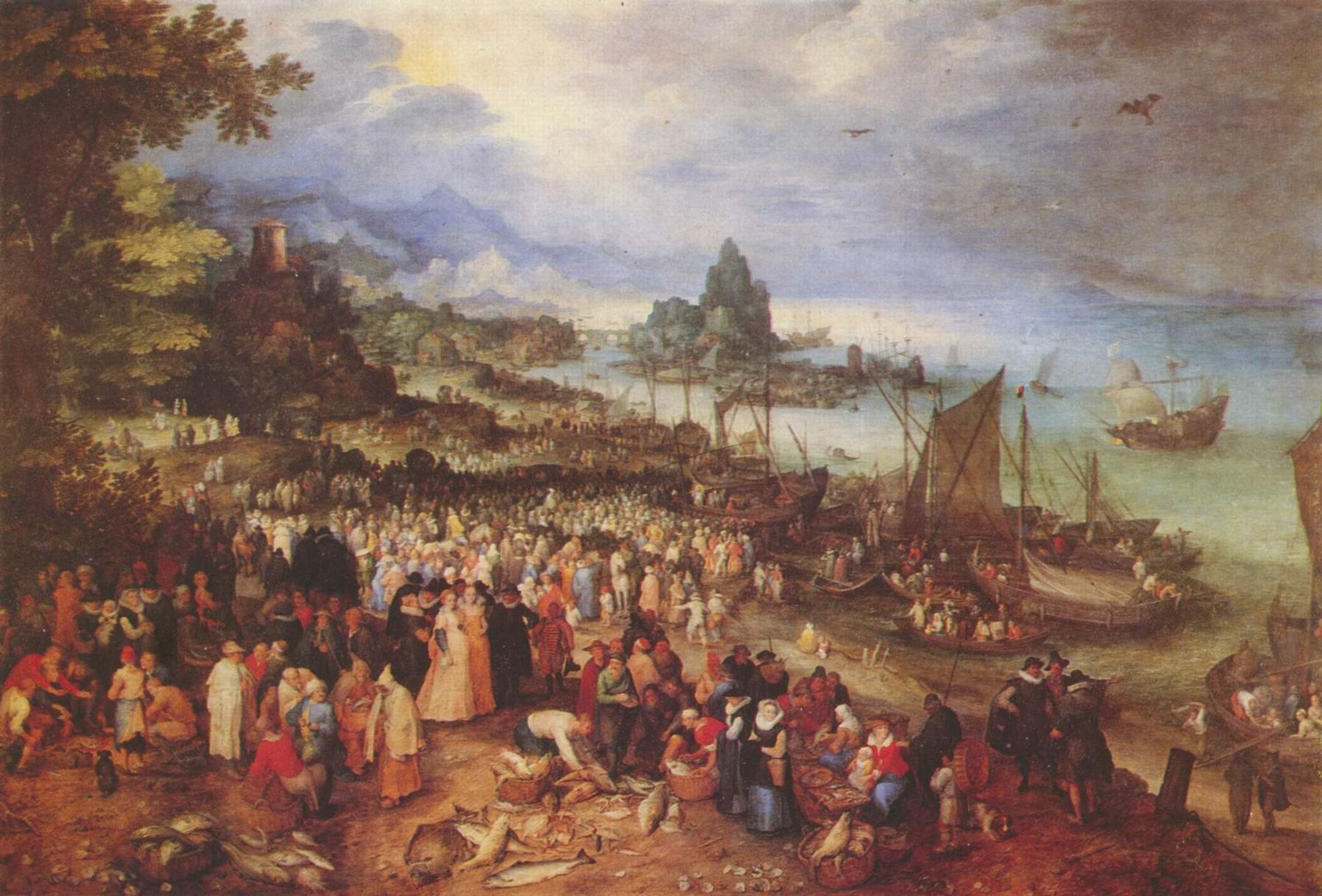 Христос проповедует на озере, Ян (Бархатный) Брейгель Старший