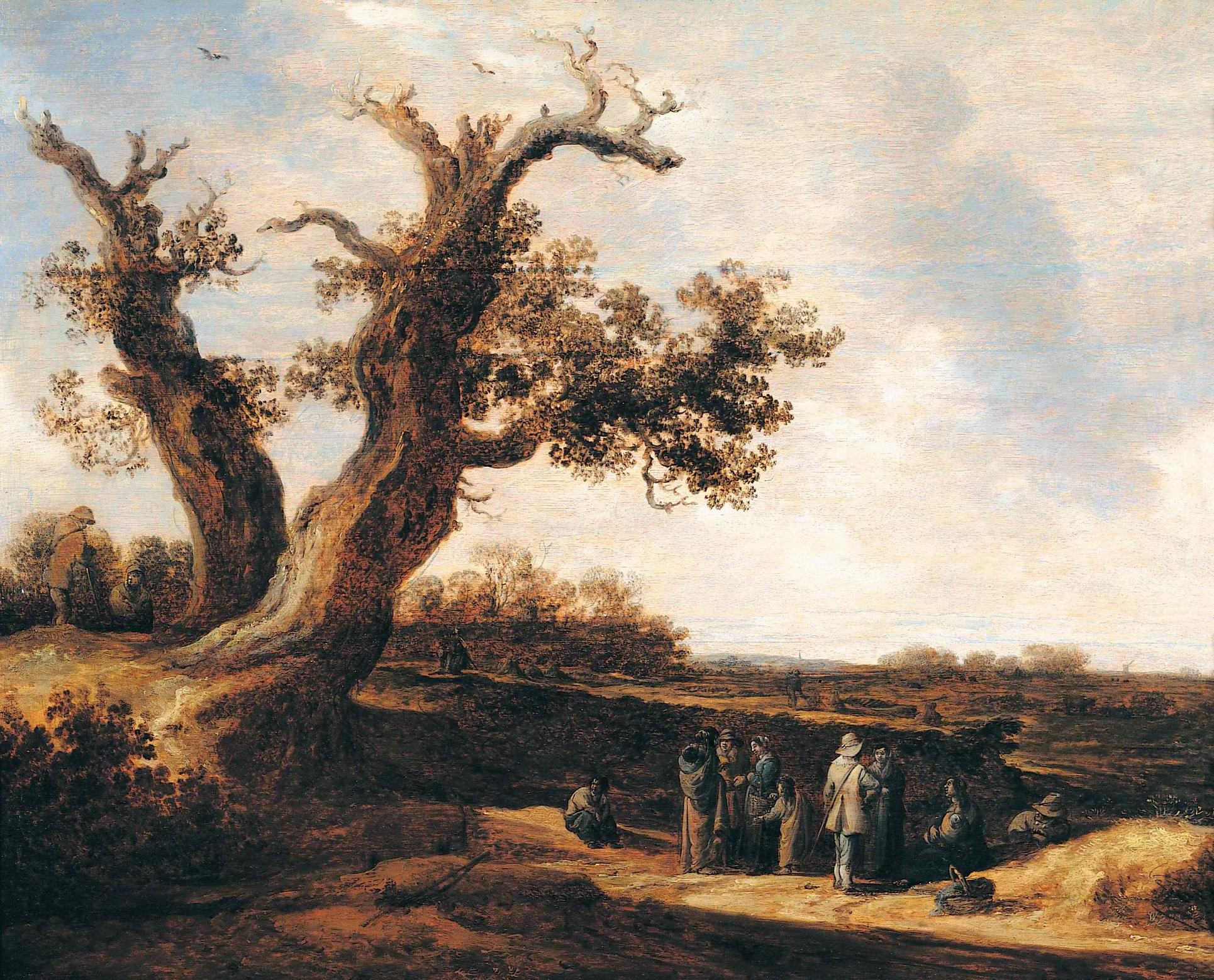 Пейзаж с дубом, Ян ван Гойен