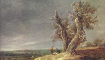 Пейзаж с двумя дубами