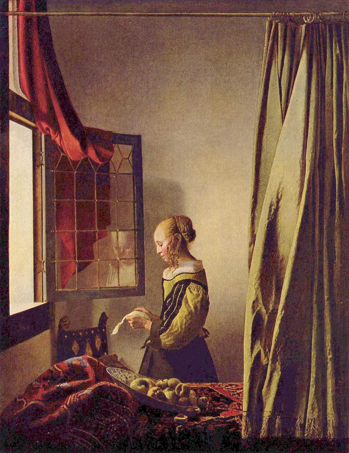 Девушка у открытого окна, читающая письмо, Ян Вермеер Делфтский