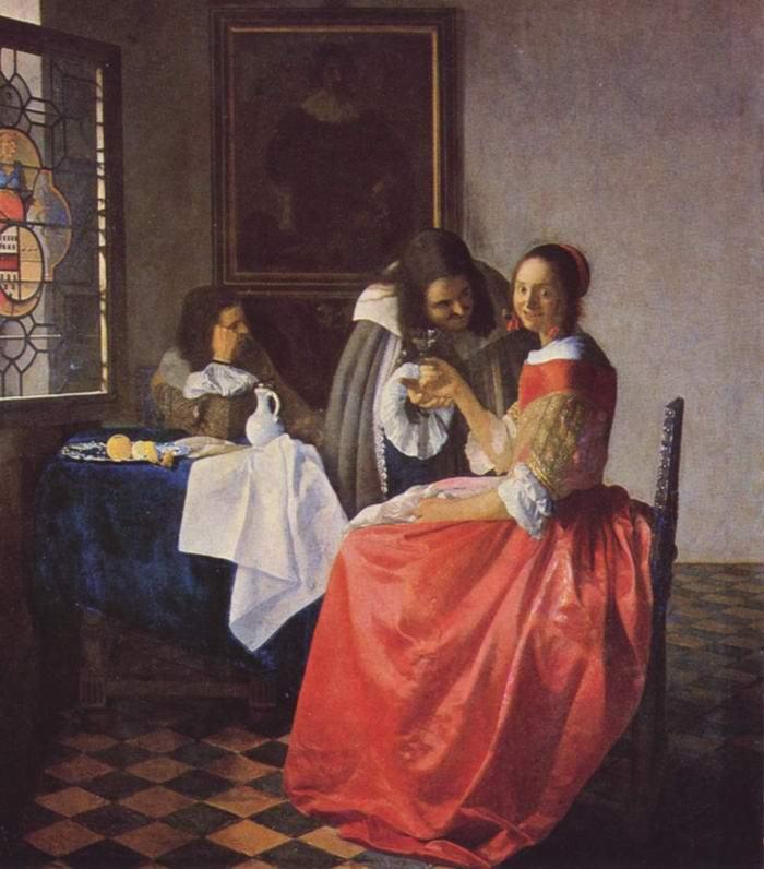 Девушка с винным бокалом, Ян Вермеер Делфтский